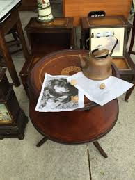 2 tiered antique round leather top accent table for sale in