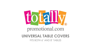 6ft Imprinted Table Cover Custom 6ft Table Covers Custom Printed Tablecloth Totallypromotional Com