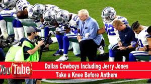 Dallas Cowboys American Flag Dallas Cowboys Including Jerry Jones Take A Knee Before Anthem