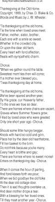 time song lyrics for 25 thanksgiving at the home