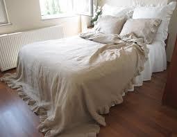 White Ruffled Comforter Linen Ruffle Duvet Cover Full Queen King Size Solid Gray