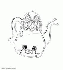 teapot and cup of tea with cookies coloring page in printable