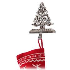 decorating antique silver metal christmas stocking hanger in
