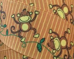 monkey ribbon monkey ribbon pink and yellow printed grosgrain ribbon
