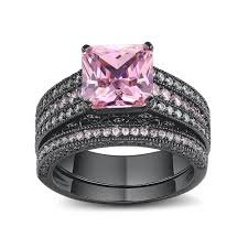 Black And Pink Wedding Rings by Asscher Cut Pink Sapphire Black 925 Sterling Silver Engagement