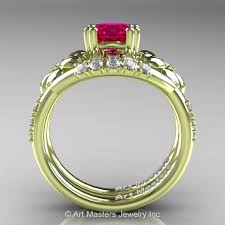 inspired 14k green gold 1 0 ct ruby leaf and vine