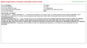 Dining Room Attendant Cafeteria Cover Letter - Dining room attendant
