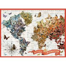 World Map Puzzles by Wendy Gold Butterfly Migration 1000 Pc Puzzle Galison