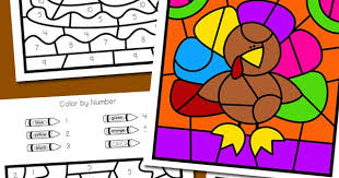 thanksgiving color by number totschooling toddler preschool