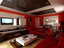red livingoom dark walls paint ideas with sofa and white curtains