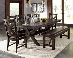 dark brown dinette leaf and bench havana eight piece dining set