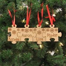 personalized engraved wood ornament family name puzzle st out