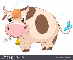 domestic animals cartoon character cow stock illustration