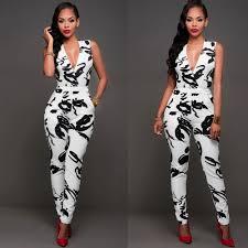 v neck sleeveless printing jumpsuits dress pinterest