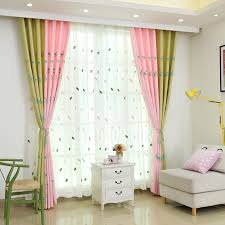 Floor To Ceiling Curtains Green And Pink Chic Flower Floor To Ceiling Childrens Curtains
