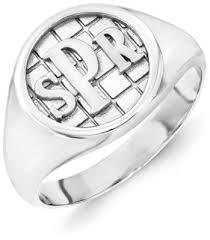 mens monogram ring men s monogram ring 14k white gold applesofgold