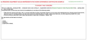 ultrasonic equipment sales representative work experience certificate