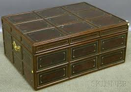 Maitland Smith Coffee Table Maitland Smith Mahogany Bound Gilt Tooled Leather Clad Trunk Form