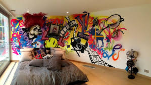 modern mural graffiti bedroom walls from a contemporary street artist
