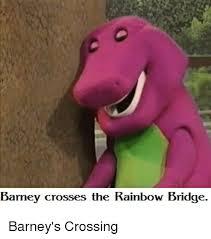 Barney Meme - barney crosses the rainbow bridge barney s crossing barney meme