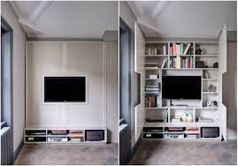 decorations hidden book storage and bookshelves behind tv console