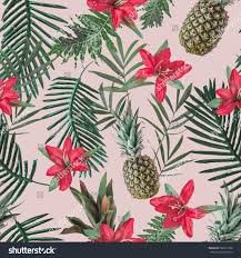 creative seamless tropical pattern flowers pineapples stock photo