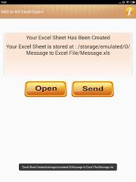print to excel file export text sms to excel file android apps on google play