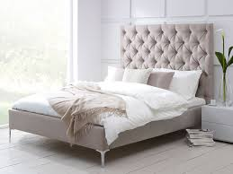 White Small Double Bed Frame by Elise Tall Buttoned Headboard Upholstered Bed Living It Up