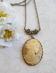 cameo necklace pendant images Lady cameo necklace vintage inspired large pendant botanical jpg