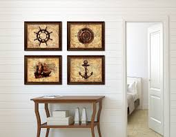 boat vintage nautical old map home decor wall art canvas print
