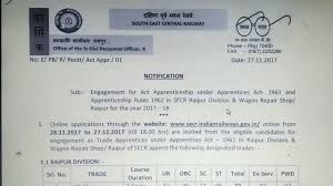 south east central railway raipur apprentice vacances for iti