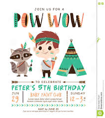 Birthday Invitation Card Kids Tribal Birthday Invitation Card Stock Vector Image 74365129