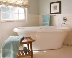 bathrooms with freestanding tubs bathroom with freestanding tub and white beadboard wainscoting