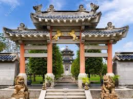 10819920 front view of chinese garden style entrance stock photo