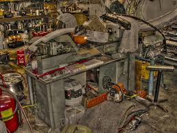 clausing 5912 metalworking lathe in messy garage hdr a photo on