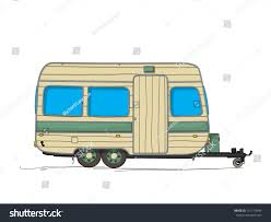 hippie van drawing caravan cartoon drawing against white background stock