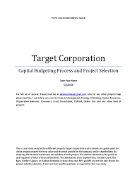 case solution of target corporation capital budgeting harvard