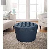 amazon com dark navy blue ottoman round with legs this large