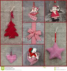 red checkered christmas decoration in country style with wood