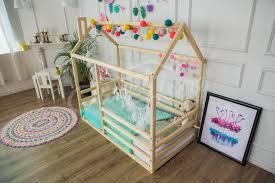 vivid colors flamingos themed kids bedroom interior ideas wood