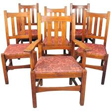 Mission Oak Dining Chairs Antique Set Of Six Stickley Brothers Arts And Crafts Mission Oak