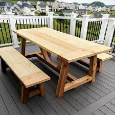 diy truss beam farmhouse style outdoor table and benches