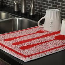 kitchen drying mat harman printed microfiber cucina reversible dish drying mat red