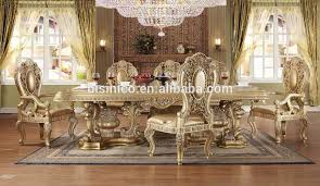 gold dining table set italian royal style solid wood goldleaf expandable dining table set