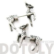 animal bambi deer fake gauge stud earrings in silver dotoly