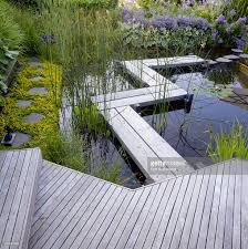Patio Pond by Water Garden Wooden Decking Zigzag Walkway Over Pond View To House