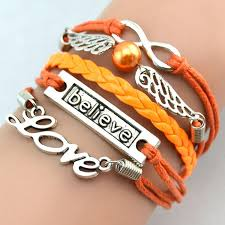love charm leather bracelet images Antique charm bracelets love believe wing infinity braided mix jpg