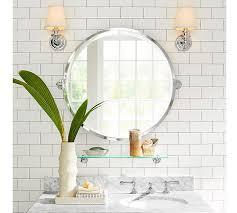 bathroom round mirror kensington pivot round mirror pottery barn