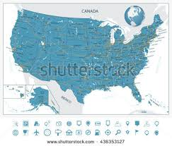 us map states hawaii us map with canada and alaska stock vector highly detailed map of
