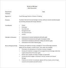 Manager Job Description Resume by Restaurant General Manager Job Description Crew Member Resume